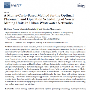 Open Access: A Monte-Carlo-Based Method for the Optimal Placement and Operation Scheduling of Sewer Mining Units in Urban Wastewater Networks