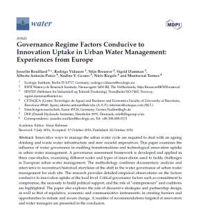 Open Access Paper available: Governance Regime Factors Conducive to Innovation Uptake in Urban Water Management: Experiences from Europe