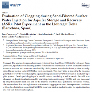 Open Access: Evaluation of Clogging during Sand-Filtered Surface Water Injection for Aquifer Storage and Recovery (ASR) Pilot Experiment in the Llobregat Delta (Barcelona, Spain)
