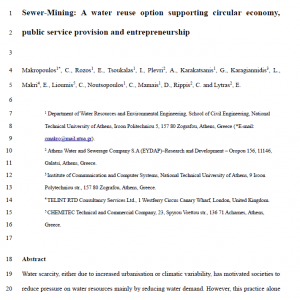 Open Access: Sewer mining - a water resue option supporting circular economy, public service provision and entrepreneurship
