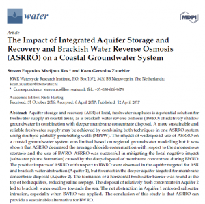 Open Access: The Impact of Integrated Aquifer Storage and Recovery and Brackish Water Reverse Osmosis (ASRRO) on a Coastal Groundwater System